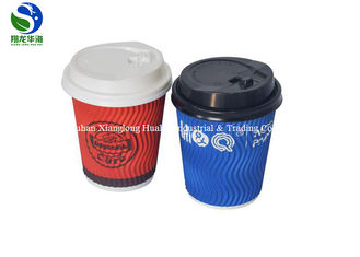 Recycled Ripple Wall Paper Cup With Coffee Lids 8oz 10oz 12oz 16oz 20oz