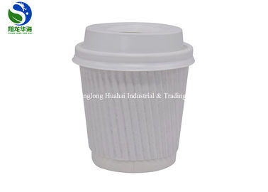 White Brown Insulated 12 Oz Paper Cup , Ripple Wrap Paper Coffee Cups