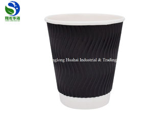 Food Grade Material Take Away Insulated Paper cups , Ripple Coffee Cups